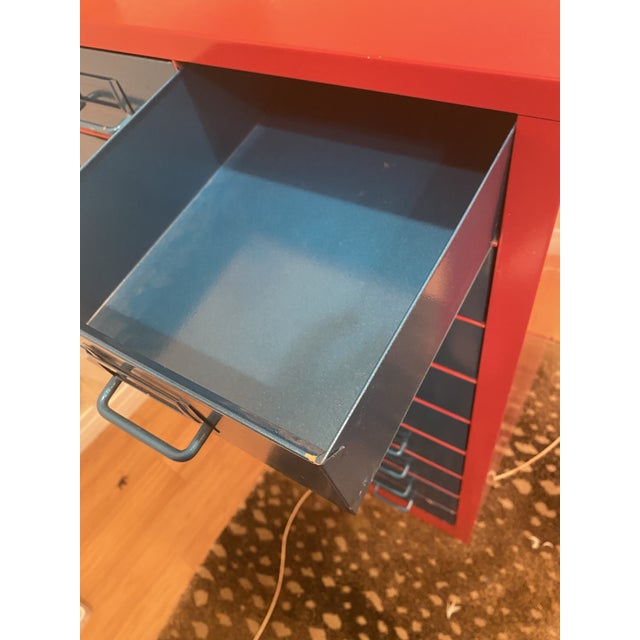 1960s Vintage Metallic Turquoise and Red Steel Stationary Cabinet For Sale - Image 5 of 8