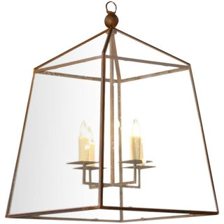 "Large Custom-Made, American Iron and Glass ""Seneca"" Lantern For Sale"