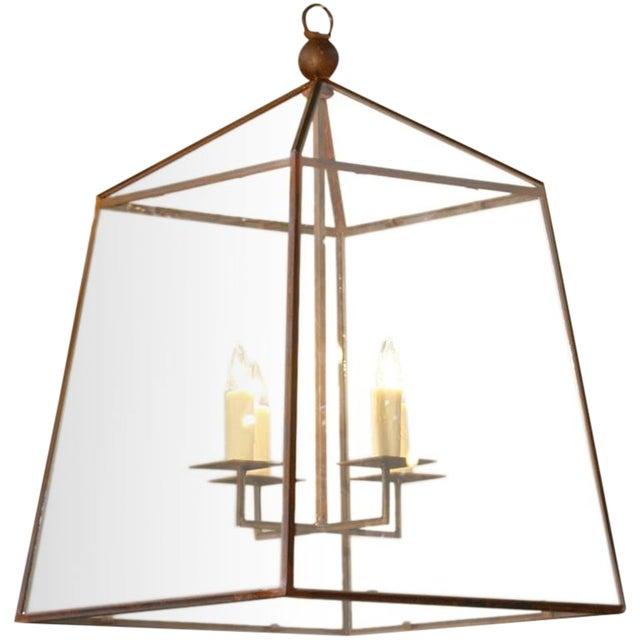 "Large Custom-Made, American Iron and Glass ""Seneca"" Lantern For Sale"