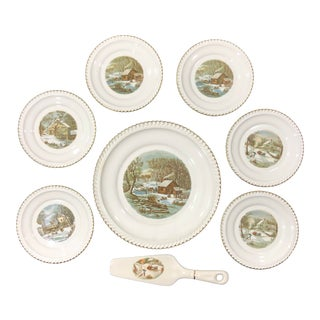 1950s Harkerware Usa Currier and Ives Cake Service Set - 8 Pieces For Sale