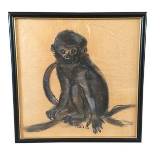Sascha Brastoff Charcoal Sketch of Pet Monkey For Sale