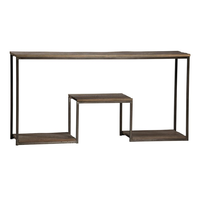 Modern Reclaimed Wood & Iron Console Table For Sale - Image 3 of 3