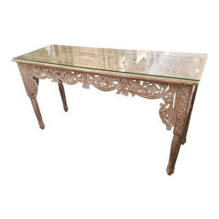 Balinese Pale Teak & Glass Top Console