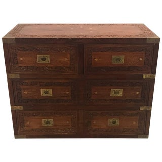 Vintage Mid-Century Anglo Indian Campaign Style Chest For Sale