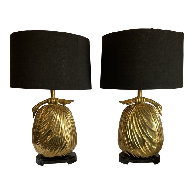 """Chapman Brass """"Sacks of Gold"""" Ribbon Table Lamps - a Pair For Sale"""