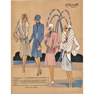 Matted Art Deco 1926 Vintage Fashion Pochoir Print For Sale