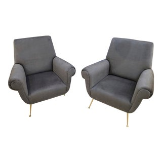 Gigi Radice Lounge Chairs in Charcoal Gray Mohair - a Pair For Sale