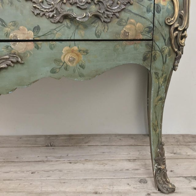 Green 19th Century French Louis XV Painted Marble Top Commode For Sale - Image 8 of 13