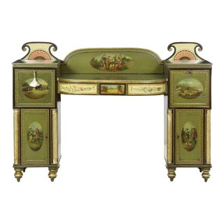 Circa 1825 English George IV Green Painted Antique Pedestal Sideboard For Sale