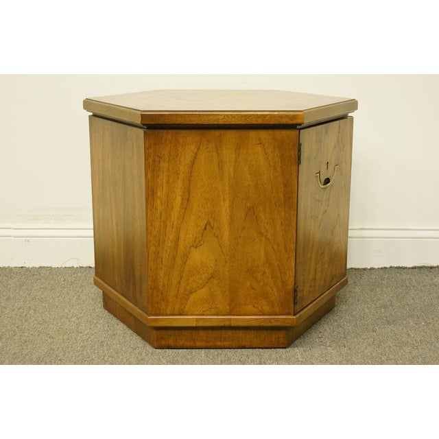 20th Century Campaign Drexel Heritage Accolade II Collection Hexagonal Storage Cabinet For Sale - Image 9 of 11