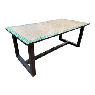 Mosaic Dining Table With Iron Base For Sale
