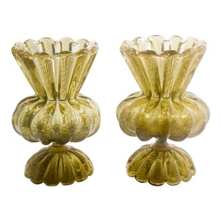 1920s Gold Murano Vases - a Pair For Sale