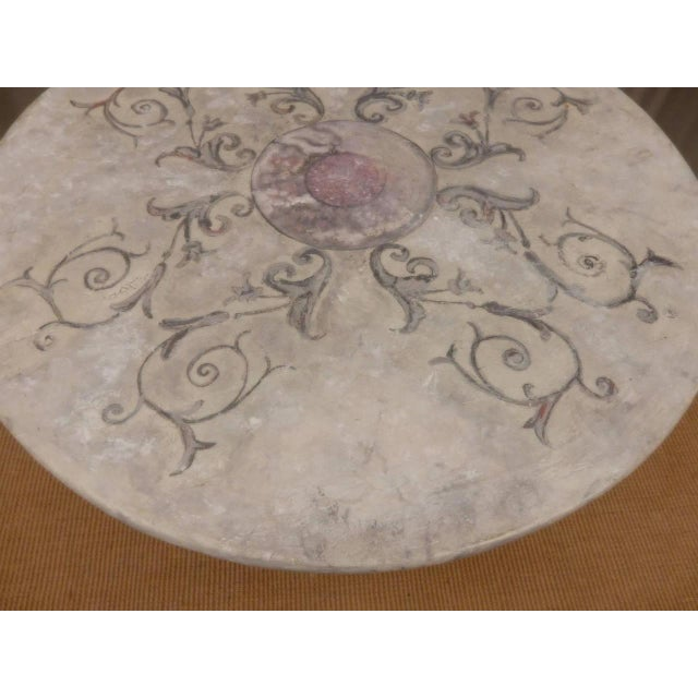Off-white Italian Provincial Faux Marble Top Table on Iron Base For Sale - Image 8 of 9
