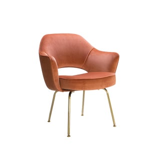 Original Saarinen Executive Arm Chairs in Rust Velvet, Custom 24k Gold Edition For Sale