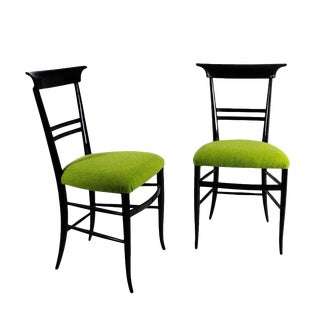 1940s Pair of Chairs, Stained Mahogany, Green Wool, Italy For Sale