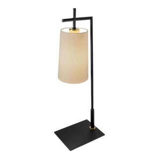 Art Deco Brushed Bronze and Satin Black Lamp With Tapered Shade