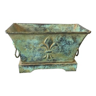 Late 20th Century Rustic/Shabby Chic Green Metal Container