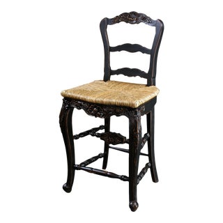 Bar Stool French Country Farmhouse Blackwash For Sale