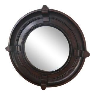 Solid Dark Wood Round Mirror For Sale