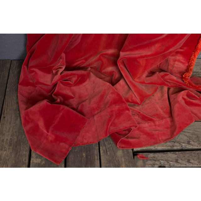 Two Pairs of Paprika Color Velvet Drapes For Sale - Image 9 of 11