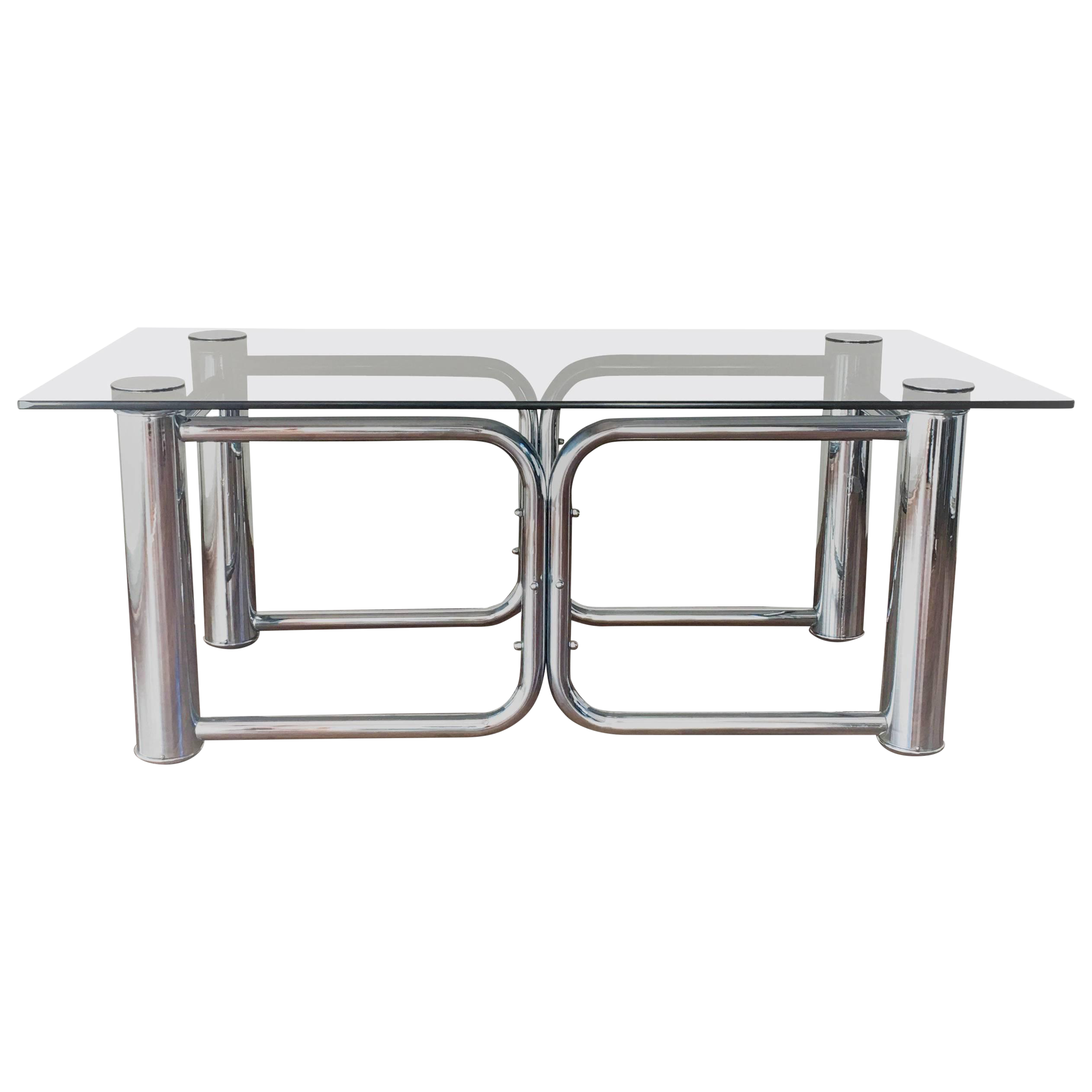 Mid Century Modern Chrome Coffee Table With Smoked Glass Top