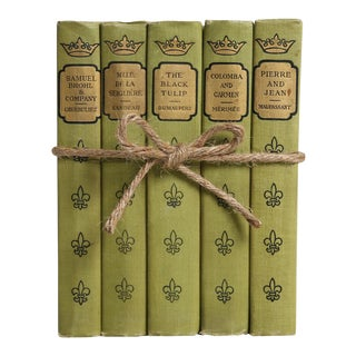 Vintage Book Gift Set: Chartreuse French Classics, S/5 For Sale