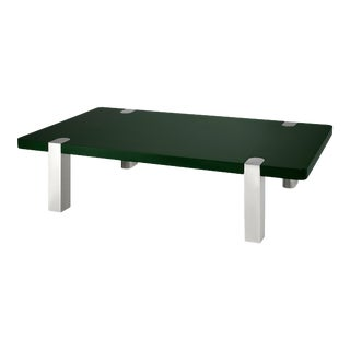 Rita Konig Collection Chapman Coffee Table Nickel Legs in Bottle Green For Sale