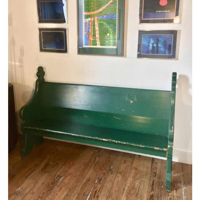 Late 19th Century Vintage Emerald Green Vernacular Gothic Pew For Sale - Image 10 of 11