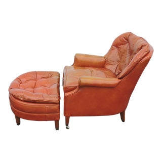 Mid Century Leather Living Room Chair With an Ottoman by Wellington Hall For Sale
