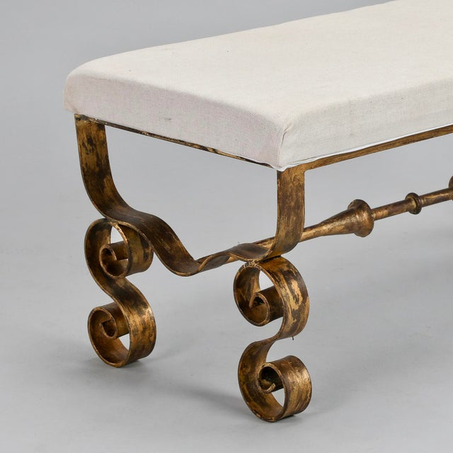 Upholstered Bench with Scrolled Gilt Metal Legs - Image 7 of 8