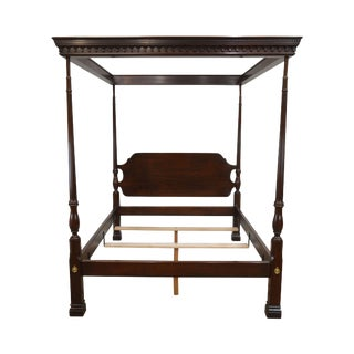 Stickley Solid Mahogany Queen Size Carved Canopy Poster Bed For Sale