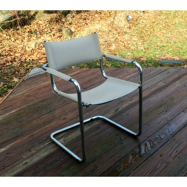 Vintage Mart Stam Breuer Style Tubular Chrome & Gray Leather Chair - Image 4 of 11