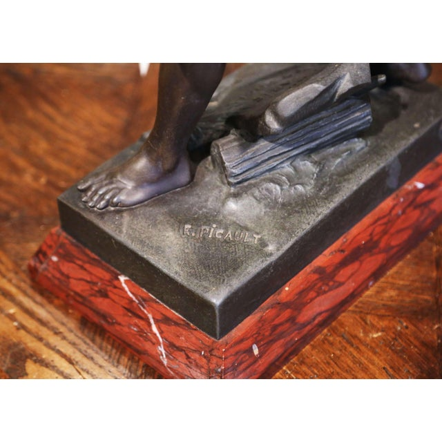 """19th Century French Spelter Sculpture Titled """"Honor-Patria"""" Signed E. Picault For Sale In Dallas - Image 6 of 12"""