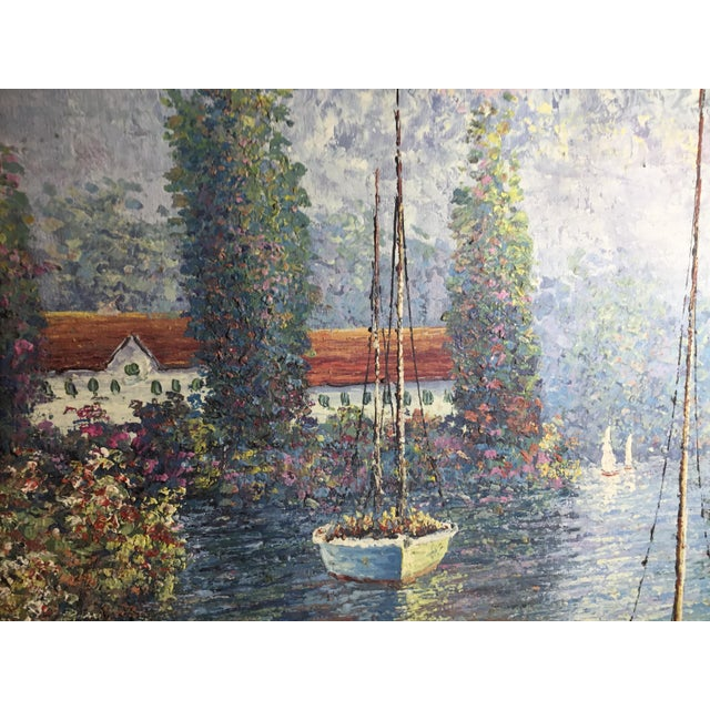 Vintage Sailing Boats on the Lake Oil on Canvas Painting For Sale In Miami - Image 6 of 11