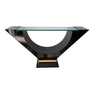 Postmodern Black Lacquered Console Table With Glass Top . For Sale