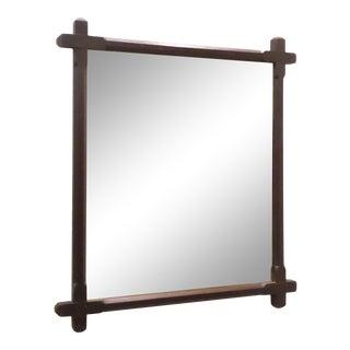 Vintage Arts & Crafts Ebonized Oak Mirror For Sale