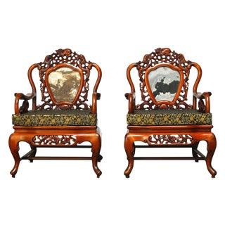 Chinese Rosewood Carved Armchairs - Pair