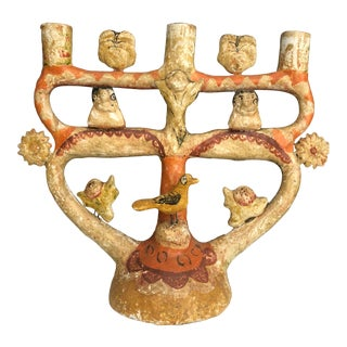 Mexican Tree of Life Candelabra Folk Art For Sale
