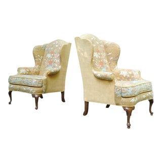Vintage Drexel Heritage Chinoiserie Wingback Chairs ~ a Pair For Sale