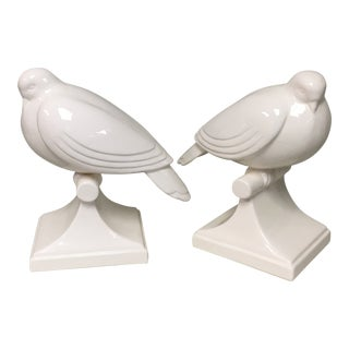 Fitz & Floyd White Deco Pigeon Figurine Bookends For Sale