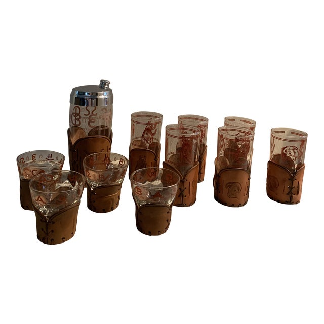 Mid-Century Western Theme Leather Accent Glasses and Shaker - 11 Piece Set For Sale