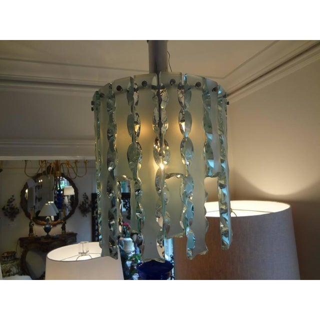 1960s 1960's Italian Zero Quattro -Fontana Arte Frosted Glass Lantern or Chandelier For Sale - Image 5 of 12