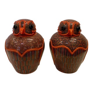 Intricately Hand Painted Burmese Owl Jars -Pair For Sale