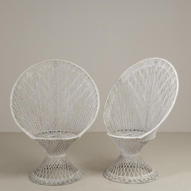 Aluminum Large Pair of Spun Wing-Arm Chairs, 1970s For Sale - Image 7 of 7