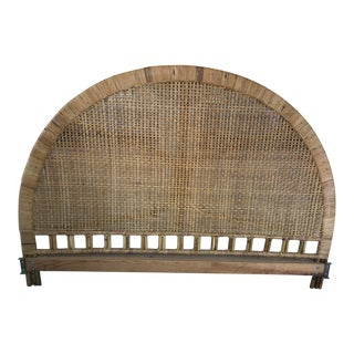Vintage Mid-Century Arched Buri Cane Wicker Rattan King Headboard For Sale