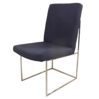 1970s Mid-Century Modern Milo Baughman for Thayer Coggin Chrome Base Side Chair For Sale