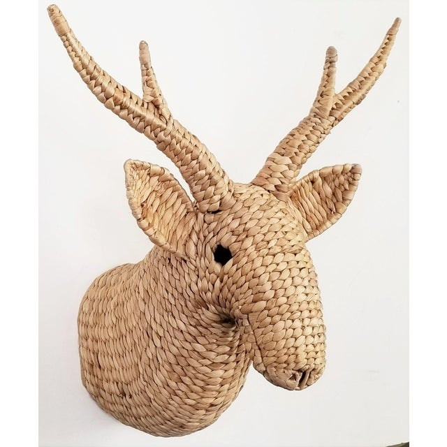 Seagrass Raffia Wicker Stag Wall Sculpture-Mid Century Modern Tropical Coastal Nautical Rattan Bamboo Tree Taxidermy Antler Mario Lopez Torres For Sale - Image 13 of 13