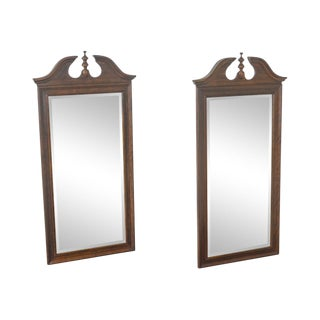 Thomasville Mahogany Collection Pair of Beveled Chippendale Style Mirrors For Sale