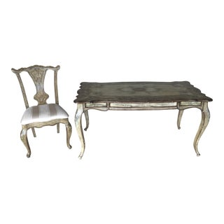 Hooker Furniture Louis XV 1-Drawer Writing Desk & Chair - A Pair