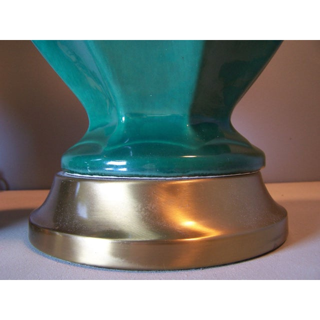 Mid-Century Green Drip Glaze Lamps - A Pair - Image 5 of 5